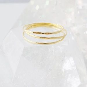 Jewelry - 24K Gold Plated Skinny Midi Stacking Rings